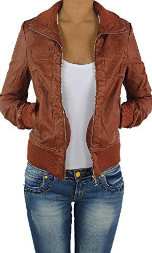 Damen Lederjacke Kunstlederjacke Leder Jacke Damenjacke Jacket Bikerjacke 809all XL Dunkelbraun