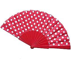 Pulgadas Ventilador del Mano, Ventilador de Papel a Mano, Seda de Flor Superficie Abanico - aficionados a la mano lunares japoneses mano plegable ventilador regalos