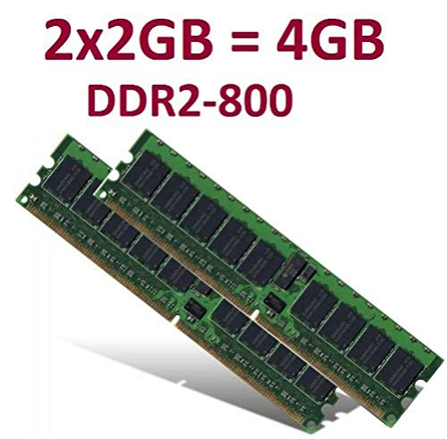 Dual Channel Kit: 2 x 2 GB =4GB 240 pin DDR2-800 DIMM (800Mhz, PC2-6400) 128Mx8x16 double side, TOP MARKEN - JE NACH VERFÜGBARKEIT - TOP PREIS - 100% kompatibel zu DDR2-667 PC2-5300 / DDR2-533 PC2-4200 (5300 667mhz Ddr2 Dual Channel)