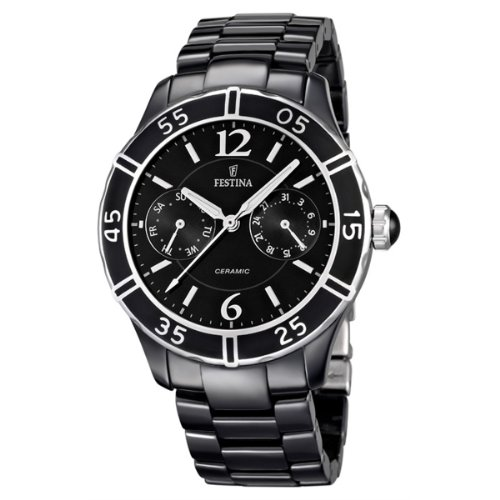 Festina Women's Quartz Watch with Black Dial Analogue Display and Black Ceramic Bracelet F16622/2
