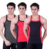 Zimfit Gym Vest - Pack of 3 (Black_Red_G...