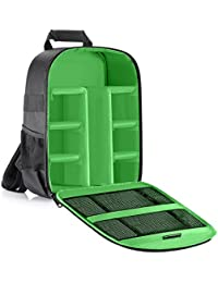 Neewer Mochila para cámara flexible acolchada con separadores con protector antigolpes, para cámaras SLR y otros accesorios, interior verde