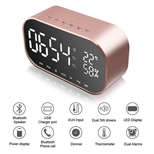 Digitaler Wecker Bluetooth Lautsprecher, Jim'S Store FM Radiowecker Dual-Alarm mit USB-Ladeanschluss, Bluetooth 4.2 Lautsprecher, 5.5\'\' Große LED-Anzeige mit Dimmer (Roségold)