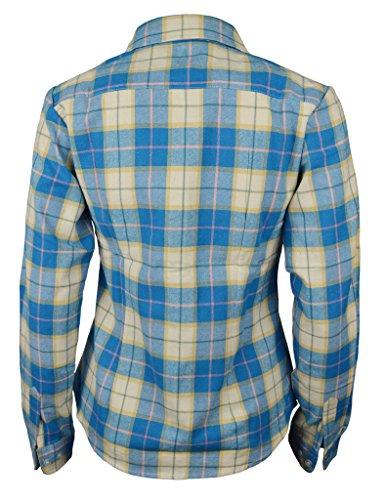 PHOENISING Damen Blusenbody Bluse, Kariert Blau-Weiß