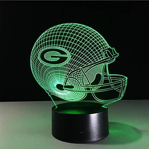 Djkaa 3D Lampe Fußball Green Bay Packers Helm Led-Licht 7 Farbwechsel Tischlampe Bunte 3D Nachtlicht Kinder Weihnachtsgeschenke (Kinder-fußball-helm-braun)