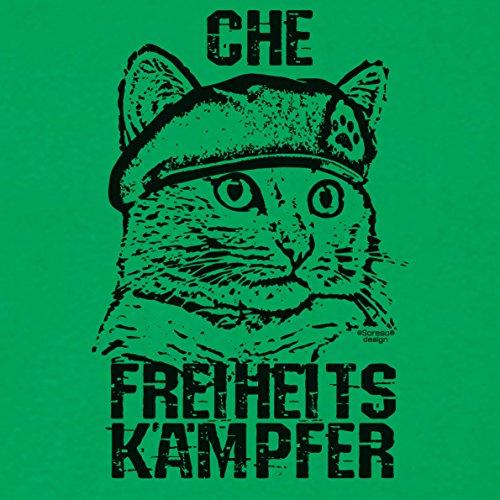 Geschenkidee für Katzenfreunde :-: Motiv T-Shirt Katzen :-: Che als Geschenk zum Geburtstag Weihnachten Vatertag :-: auch in Übergrößen 3XL 4XL 5XL :-: Farbe: hellgrün Hellgrün