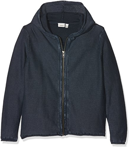 NAME IT Jungen Sweatjacke Nkmjodan LS Knit Card W Hood, Blau (Dark Sapphire), 140 (Herstellergröße: 134-140) (Ls Strickjacke)
