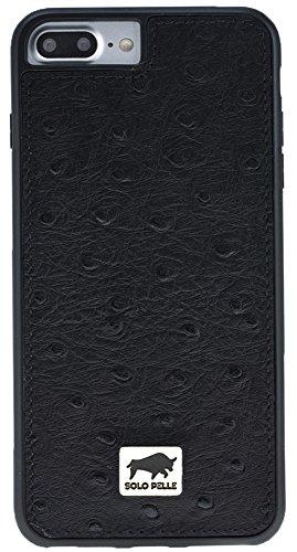 """Solo Pelle Iphone 7 Plus / 8 Plus Plus Case Lederhülle Ledertasche Backcover """" Flex """" aus echtem Leder in Vintage Braun Strauss-Schwarz"""