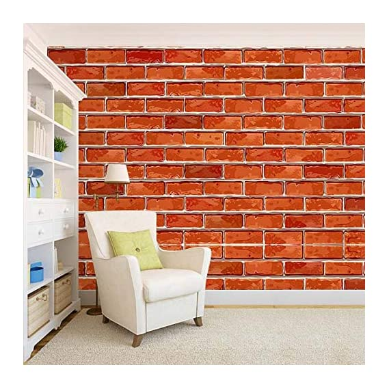 100Yellow? 3D Brick Pattern Self Adhesive Peel And Stick Waterproof Hd Wallpaper