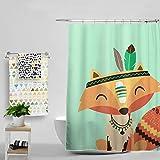 [Patrocinado]Charlesshunshun Agua cortina zorro impermeable y mohoso cortina de ducha gancho 180 * 180CM