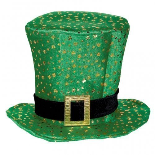 1 x St Patricks Day Celebration Irish Topper Green Velour Hat With Buckle by ToyMarket - Hat Day Green