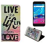 K-S-Trade Für Archos Core 55P Schutz Hülle 360° Wallet Case ''live Life Love'' Schutzhülle Handy Tasche Handyhülle Etui Smartphone Flip Cover Standfunktion (1x)