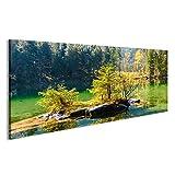 Bild Bilder auf Leinwand Wundervoller Herbst von Hintersee See von bayerischen Alpen auf der österreichischen Grenze, Deutschland, Europa Wandbild, Poster, Leinwandbild LDE