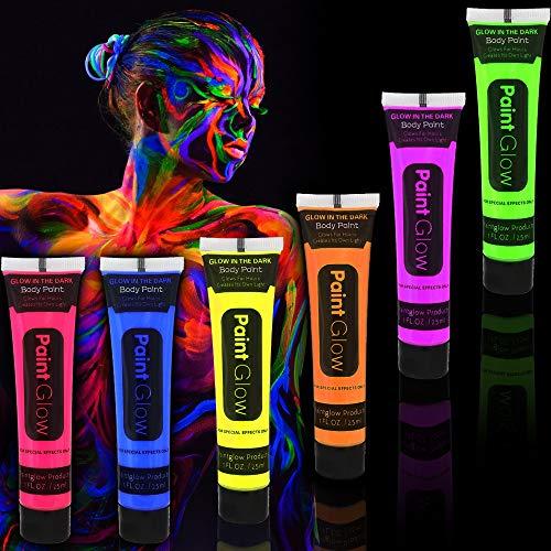 German Trendseller® 6 x UV - Bodypainting - Körperfarben ┃ Neon ┃ Lichtfarbe ┃ Mond Licht ┃ Körpermalfarben ┃ Extra Knallige Farben ┃ 6 Leuchtfarben