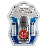 Whitenergy 08350 Chargeur de Batterie Argent Chargeur de Batterie Domestique - Chargeurs de Batterie (230 V, 50 Hz, 1.2 V, 2 pièce(s), AA, 2800 mAh)