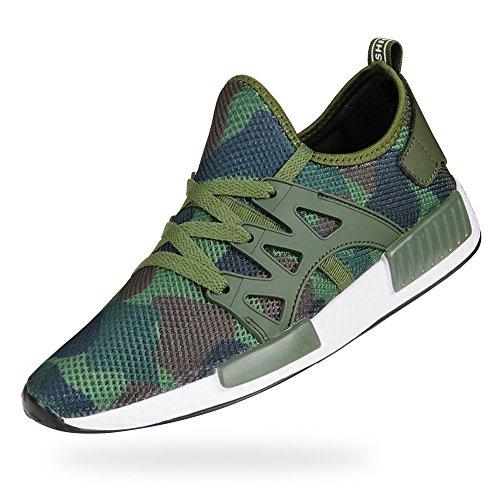 MUOU Herren Schuhe Outdoor Sneaker Atmungsaktive Lace-up Mesh Männer Laufschuhe Walking Trekking Schuhe (43, Grün) (Sneaker-speicher-fall)