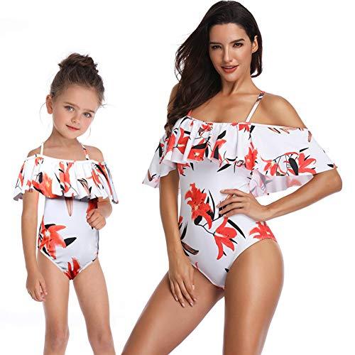 Einteiliger Badeanzug, Frauen-Bikini-Set mit Rüschen, Familien-Match, geeignet für Mutter und ()