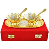 Winmaarc Gold And Silver Plated Bowl Tray Set Floral Shaped Bowl