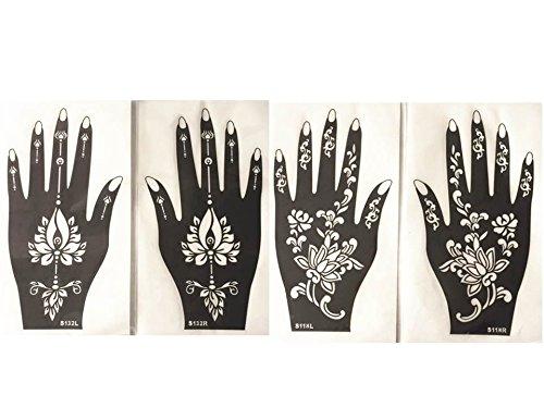 4 Feuilles Mehndi Tatouage Pochoir pour la main Mehndi Tatouages au henné s118 132 - à usage unique - pour tatouage au henné, tatouage paillettes et aérographe tatouage