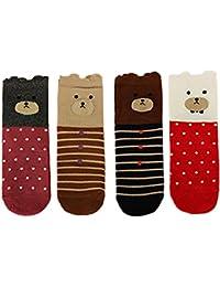 LHZY Womens Girls Socks 5 Pack, Funny Cute Pet Dogs Peinture Cartoon Sweet Design, confortable chaussettes en coton Blend Floor UK 4-7 / EU 35-41