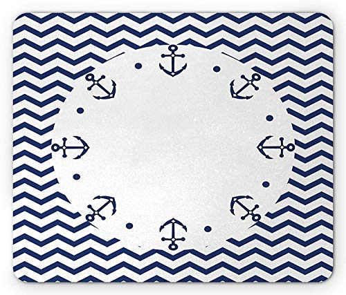 Navy Blue Mouse Pad, Marine Yacht Themed Design with Wave Like Zig Zags and Anchors Pattern Gaming Mousepad Office Mouse Mat White and Navy Blue -