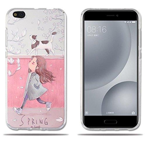 Fubaoda Xiaomi Mi 5c Mi5c Hülle, [Mädchen & Katze] Transparente Silikon Clear TPU Fashion Creative Vintage Retro Style Slim Fit für Xiaomi Mi 5c Mi5c
