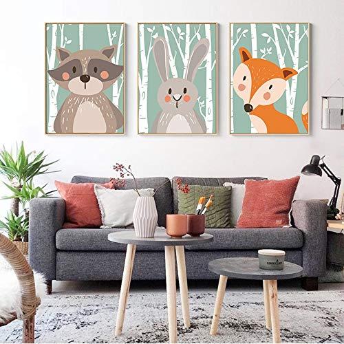 ZSHSCL Impresión En Lienzo De Pintura De 3 Piezas Nórdica Kawaii Bosque Animal Pintura De La Lona Impresión De La Imagen Pared De Los Niños Dormitorio Sala De Estar Decoración para El Hogar, 40X60