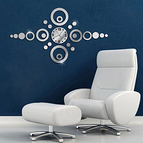 Vetrineinrete® orologio da parete adesivo sticker componibile tridimensionale 3d effetto specchio moderno decorazione murales orizzontale cerchi 0475s
