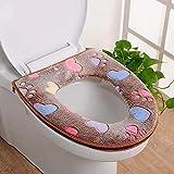 TAOtTAO Toilet Cover Badezimmer-Warmer-Toiletten-Sitz-Stoff-Weiches Closestool waschbarer Deckel-Oberseiten-Abdeckungs-Auflage (Kaffee)
