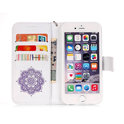 """Nutbro iPhone 6S Plus Case,5.5"""" Flip Case for iPhone 6s Plus Case,Wallet PU Leather Case [with Card Slots & Magnetic Flap Closure] Stand Case Cover For Apple iPhone 6 Plus / iPhone 6s Plus 5.5"""" White/Purple Flower"""