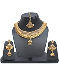 Lucky Jewellery Designer Golden Color Gold Plated Necklace Set For Girls & Women