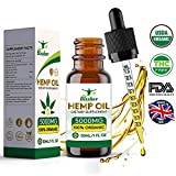 Premium Hemp Seed Oil Drops 5000 mg | Pure Organic | Natural Sleep Aid | for Pain Relief, Anxiety and Stress | Vegan Friendly | 100% Natural Ingredients Rich in Omega 3-6-9 & Vitamins | Gluten Free