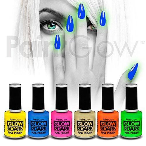 Paintglow glow in the dark nail polish (6pezzi) halloween uv neon reattiva