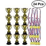 STOBOK 24 Piezas Juguetes para niños Mini Plástico Mini Copas de Oro y medallas para Fiestas Artículos para niños Juguetes de Aprendizaje temprano Premios (12 * Trofeos + 12 * Medallas)