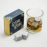 Rolling Stone: wiederverwendbare Eiswürfel aus italienischem Naturstein mit Stofftasche für Whisky, Wein, Getränke, Stck. 9