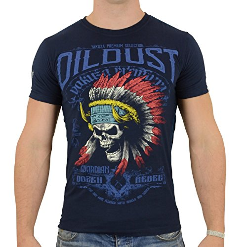 Yakuza Premium Herren T-Shirt Indian Skull dunkel blau - 3XL - Indian Skull T-shirt