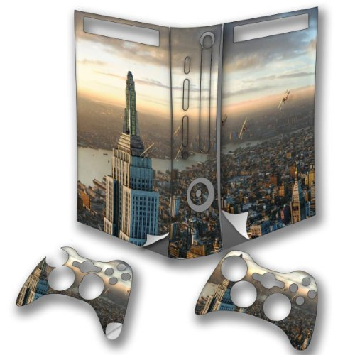 Price comparison product image New York, Skin Sticker Vinyl Cover with Leather Effect Laminate and Colorful Design for XBOX 360 Fat
