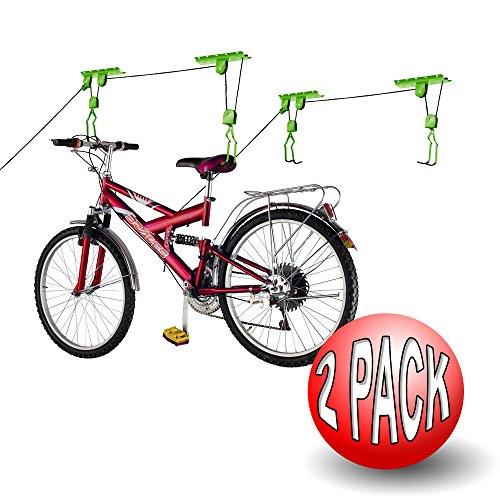 Bike Lane productos para bicicleta Lane para guardar las bicicletas Ascensor moto elevación kg capacidad resistente (2unidades), color verde