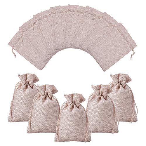 nbeads 100 Pcs Sackleinen Taschen Schmuck Beutel mit Kordelzug für Hochzeit Gunsten Geschenke Verpackung und DIY Handwerk, 13,5x9,5 cm (Gunsten Ideen Hochzeit Diy)