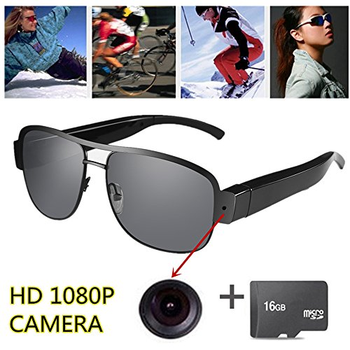 OMOUP 16GB 1080P HD Gafas de Vídeo Digital Spy Eyewear Estilo Ocultos Cámara Mini DV Videocámara Grabadora de Audio