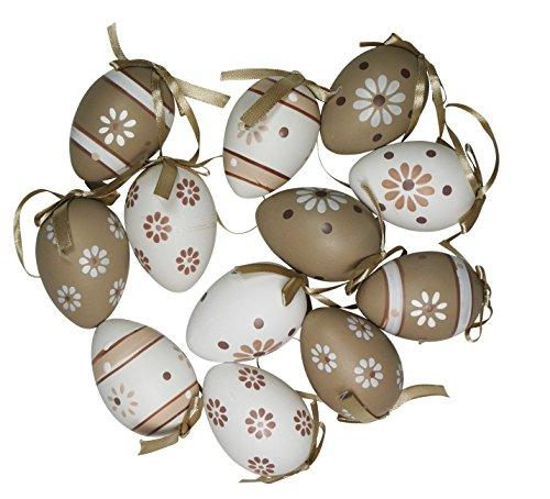 khevga Osterdekoration 12 Ostereier mit Band zum Aufhängen Deko Eier Pastell Set