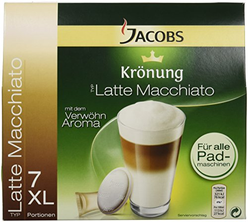 Jacobs Pads Latte Macchiato, Kaffee Pads und Milchkompositionen für 7 Getränke (162g )