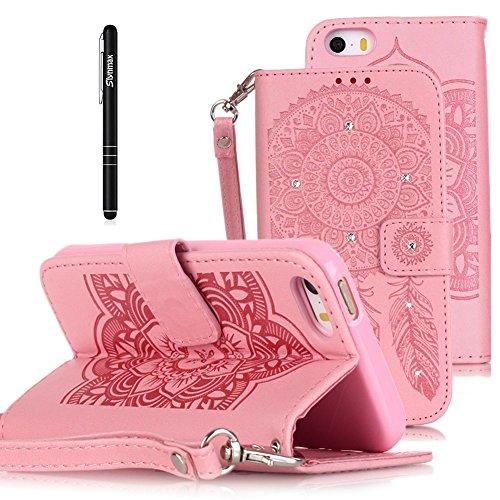Slynmax Glitzer Leder Tasche Schutzhülle für Apple iPhone SE 5 5S Hülle Flip Wallet Case Handy Campanula Ledertasche Handyhülle Klapphülle Cover Stand Karten Slot(Pink)