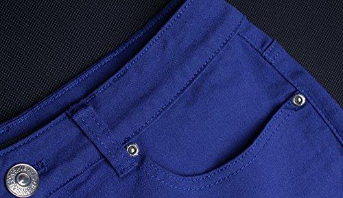 Damen Sommer Beiläufige High Waist Strand Party Hotpants Rissen Jeans Shorts Bonbonfarben Denim Baumwolle Hosen Kurz Dunkel Blau
