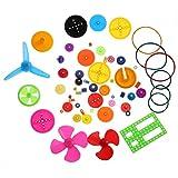 Jeu d'Engrenages de Moteur en Plastique,Walfront Kit d'Engrenages en Cuivre pour Arbre en Plastique 55Pcs
