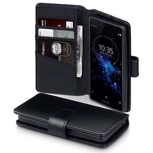TERRAPIN, Kompatibel mit Sony Xperia XZ2 Compact Hülle, [ECHT Leder] Brieftasche Case Tasche mit Standfunktion Kartenfächer und Bargeld - Schwarz EINWEG