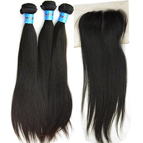 Noble Queen 10 A de cheveux lisses indien Cheveux Vierges avec fermeture Noir naturel 3 pcs non transformés Cheveux humains tissage Trame 1pièce Top Cheveux Fermeture Dentelle Suisse gratuit supplémentaire 4 packs