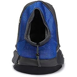 Mochila para gatos, Goodid mochila bolsa bolso hombro para llevar mascotas gatos y perros a salir y viajar con abertura (Azul, 37*26*13cm)
