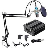 Microphone à Condensateur XLR à 3,5 mm podcasting Studio Enregistrement Professionnel Kit micro avec Alimentation Fantôme 48V et Convertisseur AC EU Bleu