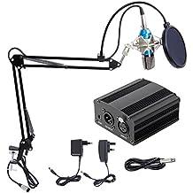 Hiwatch XRL 3.5mm Micrófono Condensador de Grabación Profesional para Computadora Podcast Estudio con Soporte de Micrófono Ajustable Suspensión, Filtro Anti-Pop, 48V Phantom Fuente de Alimentación y EU AC Plug Convertidor Azul